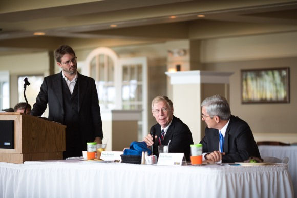 From left to right: Moderator Wes Roberts, panelists Dave Sanford and Rick Piccolo Photo Credit: Senior Photographer Evan Sigmund