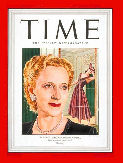 Sophie Gimbel on the cover of Time Magazine; September 15, 1947.  Image Courtesy of Time Inc.  Image Credit: Boris Chaliapin