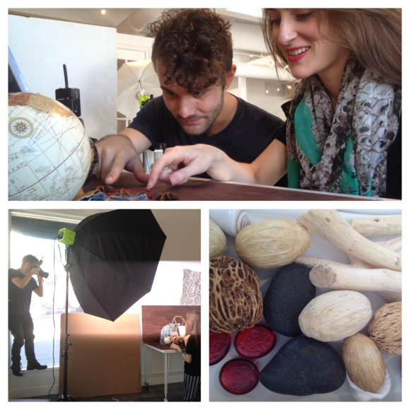 Behind the scenes work on the December Holiday Gift Guide.  Photo Credit: Shane Donglasan