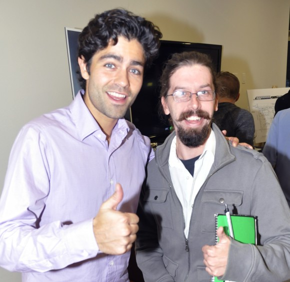 Adrian Grenier and SRQ Staff Writer Phil Lederer pose for a photo after an interview. Photo Credit:  Rich Schineller