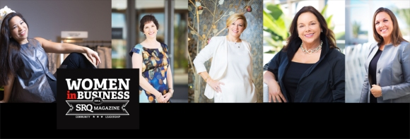SRQ Magazine Women in Business Leadership Circle Members participate in Lafayette 148 #WomenWeLove campaign. From L to R: Lee-En Chung, Cynthia Holliday, Angela Massaro-Fain, Joy Randels, Kelly Gilliland.