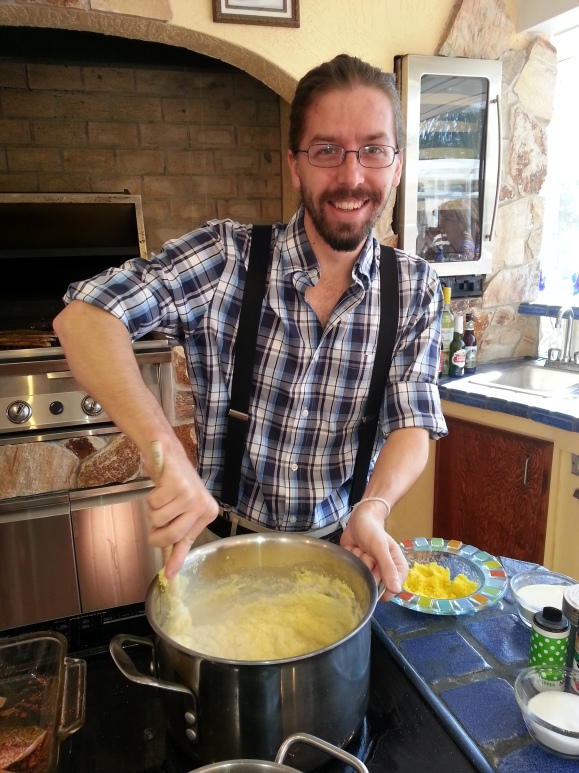 SRQ Staff Writer Phil Lederer stirs polenta on the set of Chef Rolf's New Florida Kitchen.