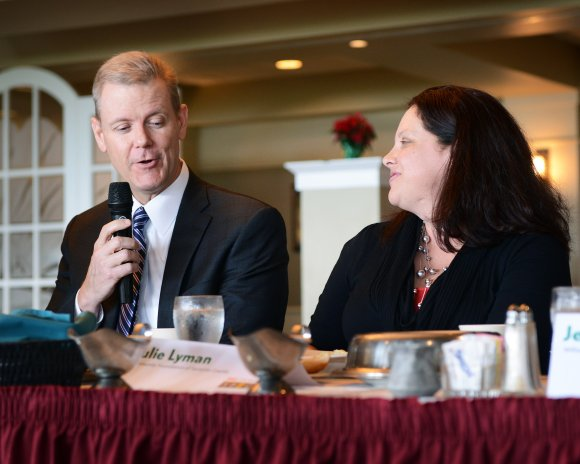 Jay Clarkson of CS&L CPAs answers a question as Julie Lyman of The Community Foundation of Sarasota listens in.