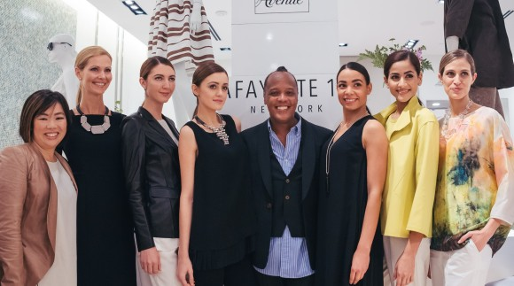 SRQ CEO and Editor in Chief, Lisl Lian with models of the Lafayette 148 Resort Wear models and Creative Director Edward Wilkerson.