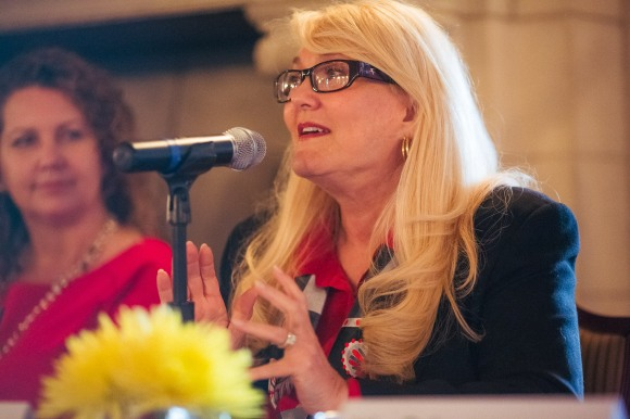 Jeanne Corcoran expounds on the mission of the Sarasota County Film Commission. Photo Credit: Evan Sigmund