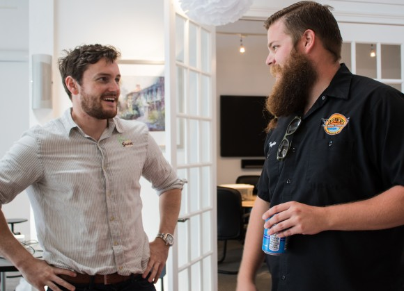 Alex of Smacks and Taylor Pogue from JDub's Brewing Company share a laugh at the Best of SRQ Local Preview Party. Photo Credit: Shane Donglasan