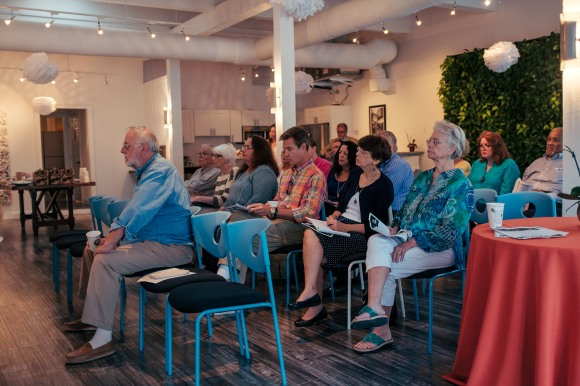 Guests listen to a political discussion of on the March 2015 Sarasota City Commission election. Photo Credit: Evan Sigmund