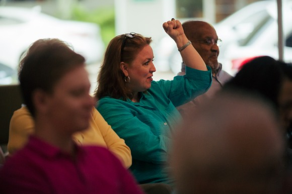 Susan Nilon of WSRQ Radio enjoys the commentary at Where the Votes Are. Photo Credit: Evan Sigmund