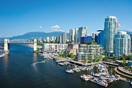Vancouver, BC's waterfront district.