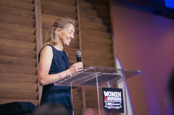 Pam van der Lee shares a keynote address at Hear Me Roar. Photo credit: Evan Sigmund