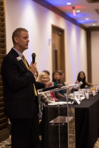 Jay Clarkson of CS&L CPAs welcomes the crowd to SB2. Photo Credit: Shane Donglasan