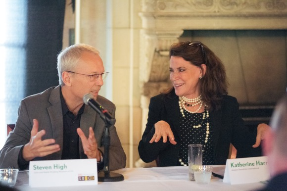 Steven High and Katherine Harris answer a question at SB2. Photo credit: Evan Sigmund