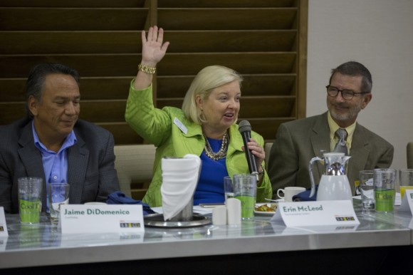 Erin McLeod asks for a show of hands when addressing a major area of need in our community. Photo credit:  Wyatt Kostygan