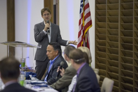 SRQ Publisher Wes Roberts directs a question to Bob Rosinsky of Goodwill Manasota. Photo credit: Wyatt Kostygan