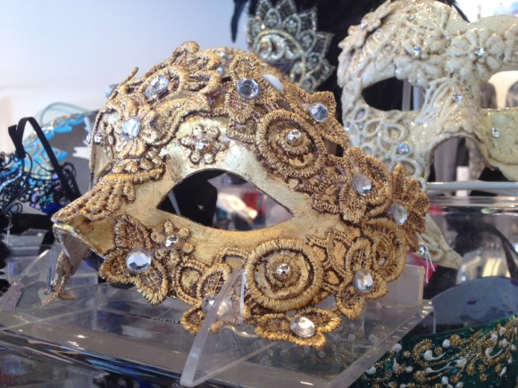 An embellished venetian mask for sale at i tesori in Sarasota. Photo credit: Mary Darby Guidroz