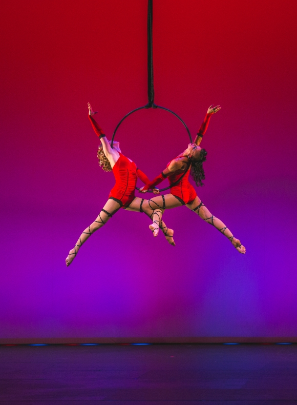 LunaStorme, performers with the Circus Arts Conservatory shared a duo lyra number. Photo credit: Wyatt Kostygan