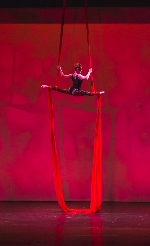 Also with the Circus Arts Conservatory, Rikki delivered a stunning performance on the silks. Photo credit: Wyatt Kostygan