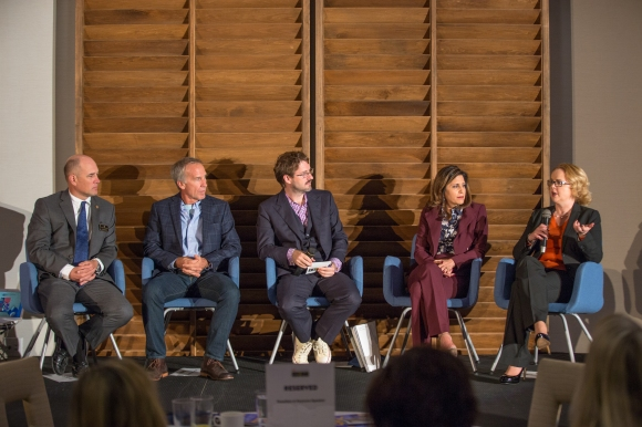 Panelists answer questions at The Art of Corporate Philanthropy. From L to R: Kelly Caldwell, Rod Hershberger, Wes Roberts (center, moderator), Lisa Krouse and Aubrey Lynch. Photo credit: Wyatt Kostygan