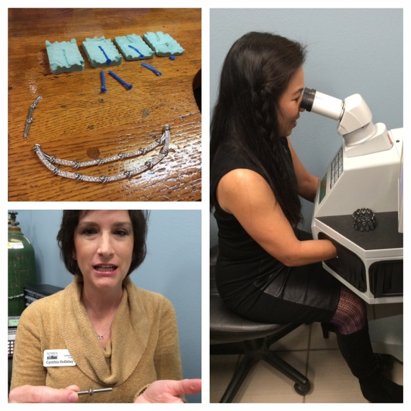 Clockwise from top left: wax molds of necklace links being recreated; Lee-En Chung uses an engineer's precision to weld screws in the laser welder; Cynthia Holiday shows off her fused screws.