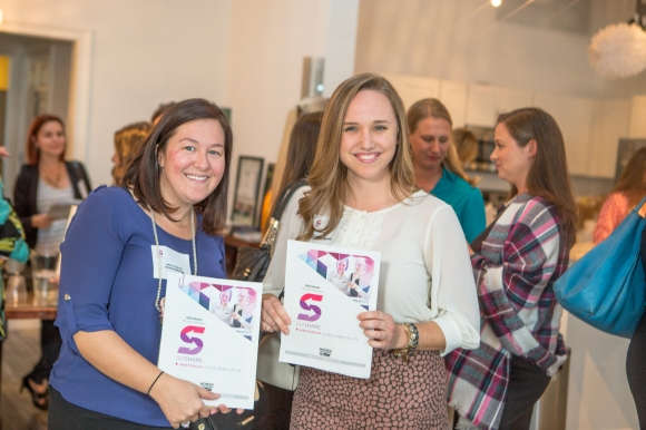 Participants Kelly Davis Strausbaugh (left) and Gina White participated in SRQ SkillSHARE. Photo credit: Wyatt Kostygan