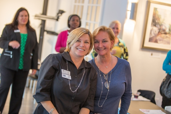 Event co-chairs Angela Massaro-Fain (left) and Sandra Rios of the SRQ Women in Business Leadership Circle. Photo credit: Wyatt Kostygan